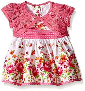 Youngland Baby Girls Floral Print Dress with Crochet Lace Cardigan kbt7O05q