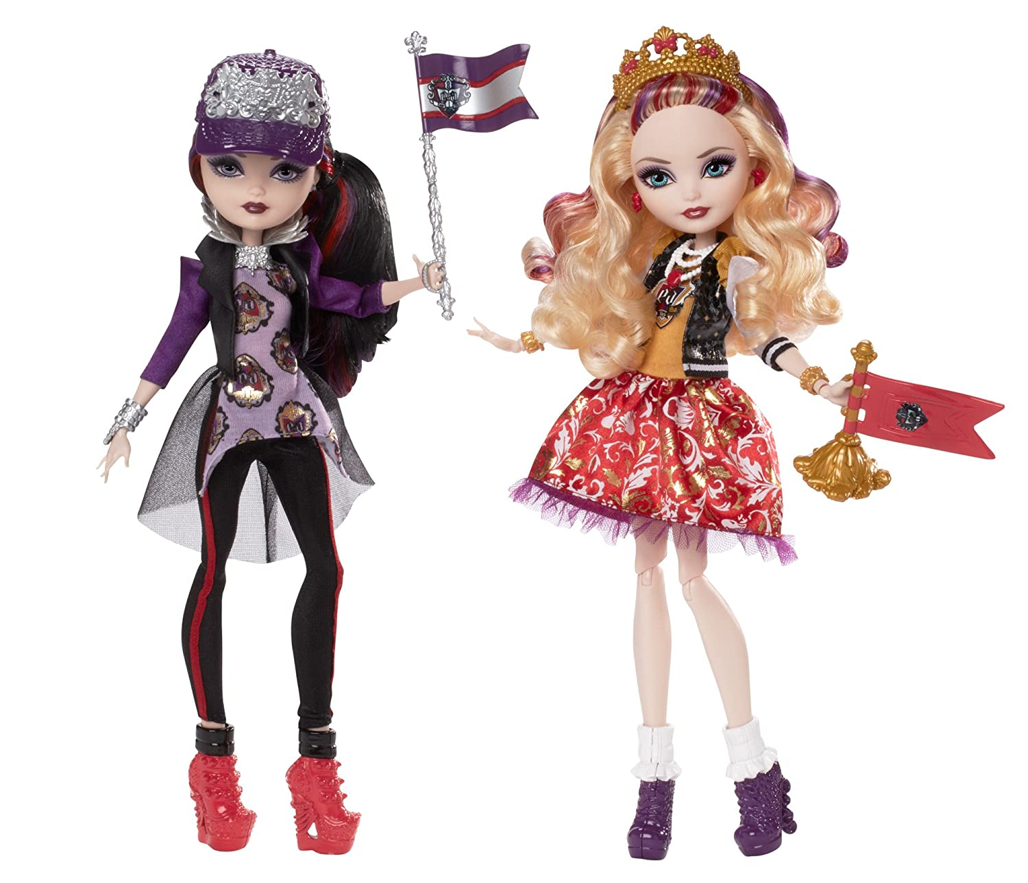 com ever after high school spirit apple white and raven com ever after high school spirit apple white and raven queen doll 2 pack discontinued by manufacturer toys games