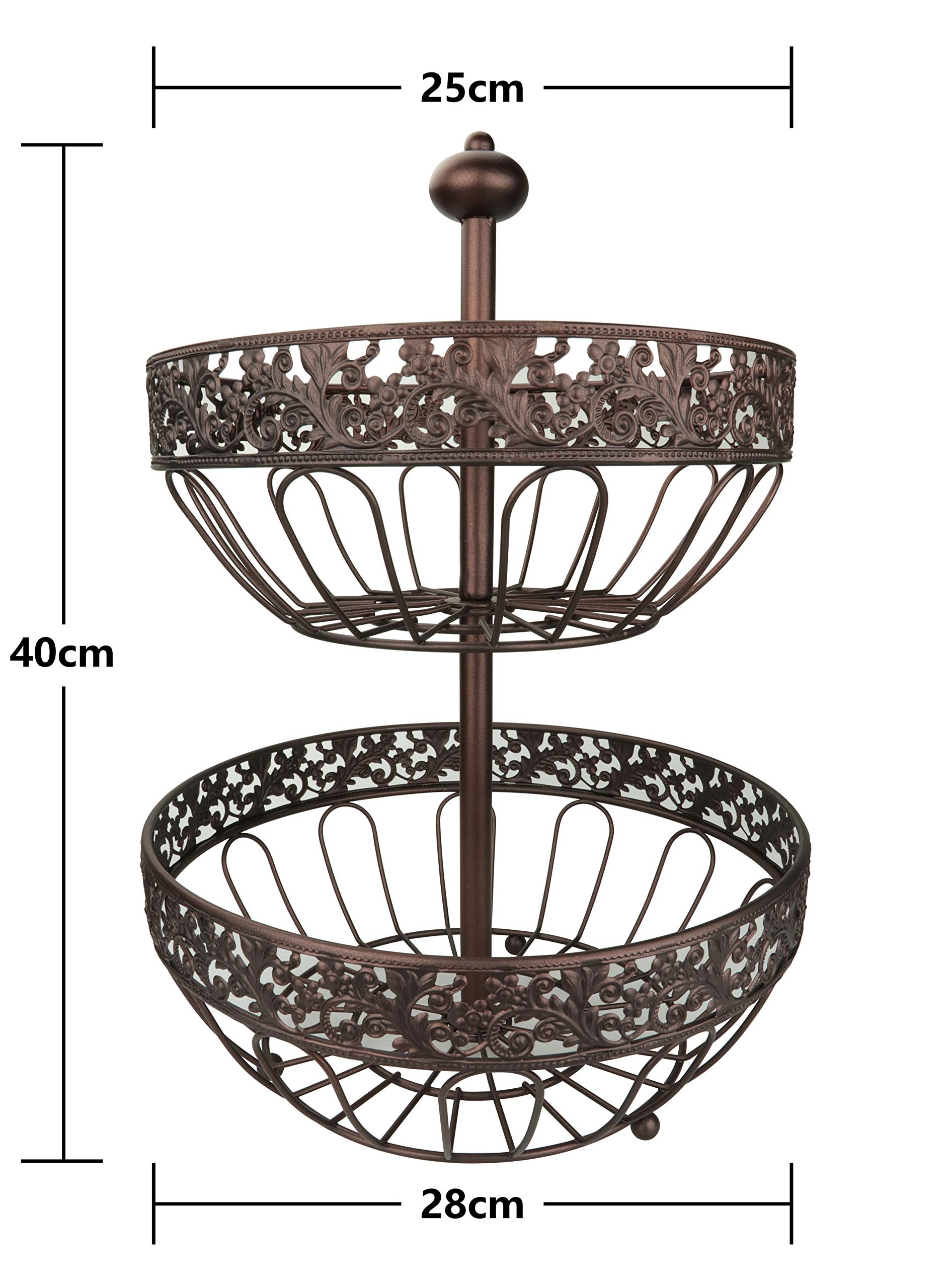 RosyLine 2-Tier Fruit Basket home Fruit Basket Decorative Display Stand, Multi purpose bowl, Home accent furnishings by DongJiang (Image #4)