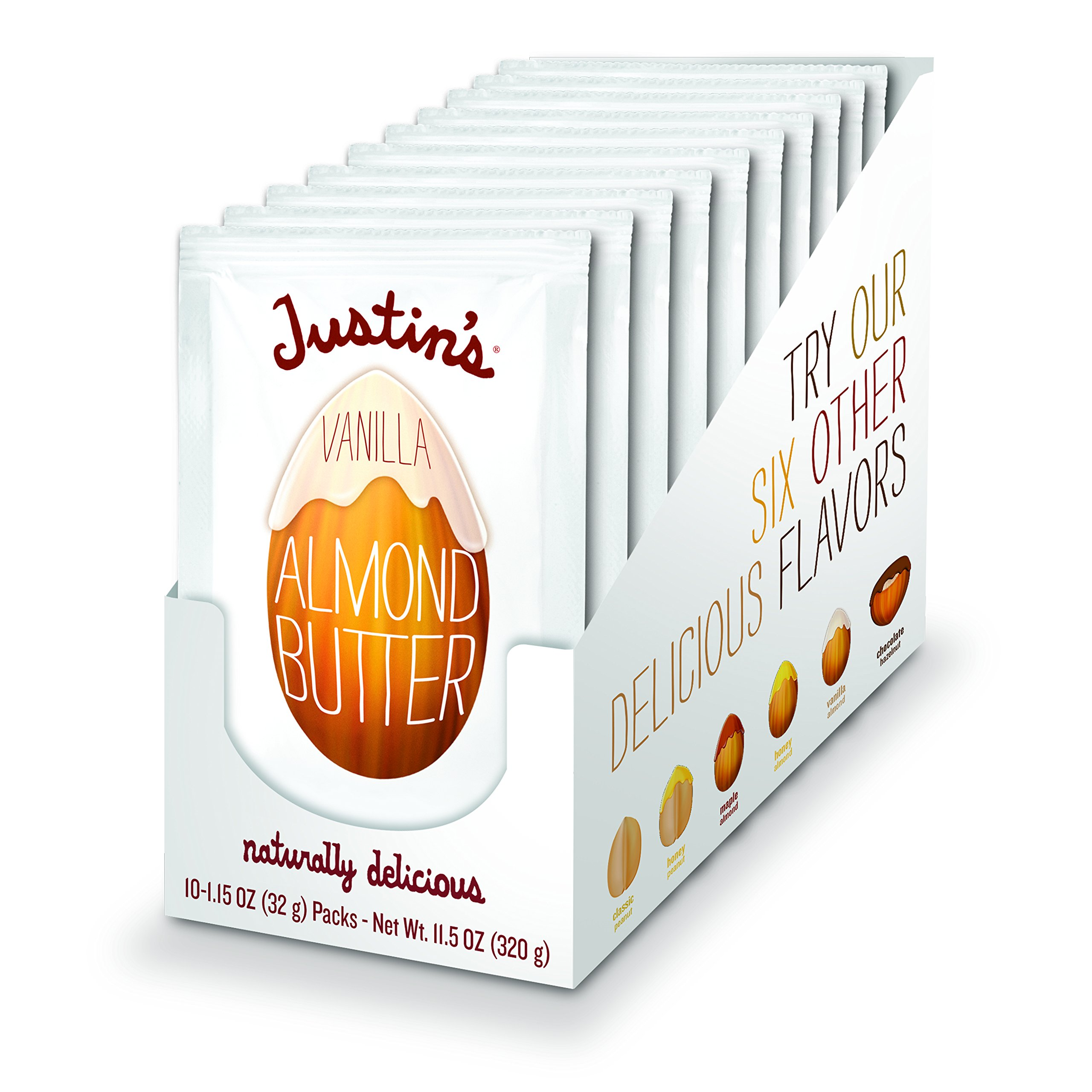 Vanilla Almond Butter Squeeze Packs by Justin's, Gluten-free, Vegan, Responsibly Sourced, Pack of 10 (1.15oz each)