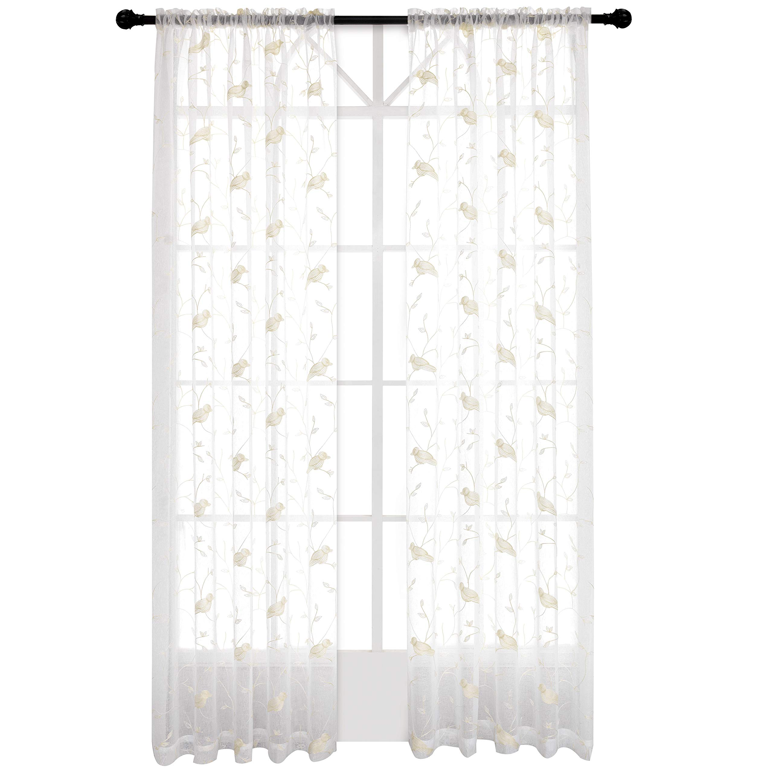 Embroidered Sheer Curtains Birds and Leaf White Voile Window Drapes for Living Room 52 X 84 inch Rod Pocket Set of 2 Curtain Panels White