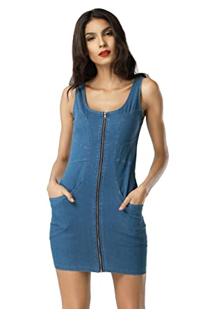 d3bddc08fab Women s Sexy Elegant Sleeveless Front Zipper Denim Short Bodycon Dress  X-Large Blue