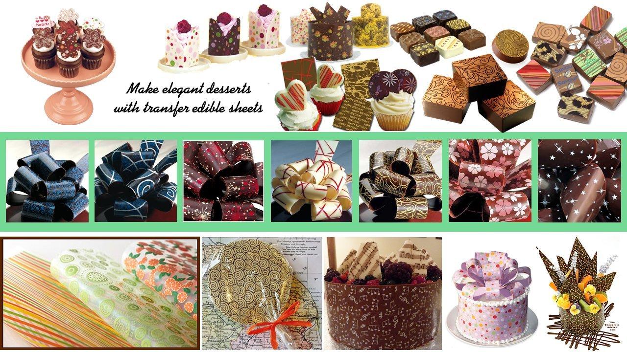 Hojas de transferencia para decorar chocolates con diseños variados (Flores purpuras) 3 Hojas por paquete: Amazon.es: Hogar