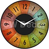 Creative Width Dartboard Wall Clock,Multicolor