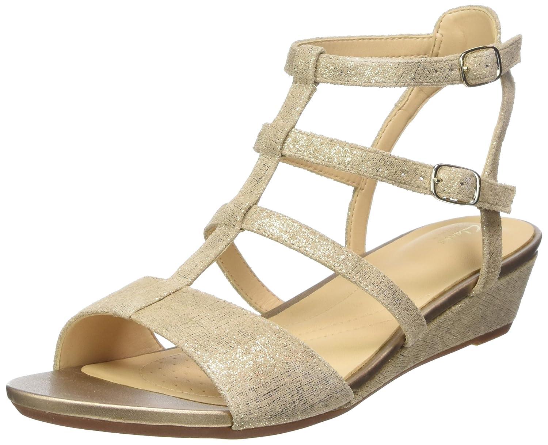 Clarks Parram Spice, Sandalias de Gladiador para Mujer 37.5 EU|Dorado (Gold Suede)