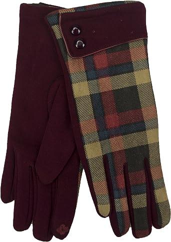 Ladies Wool Gloves BROWN with HERRINGBONE Cuff