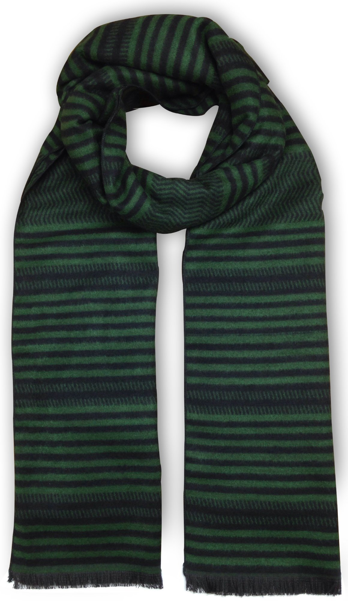 Bleu Nero Luxurious Winter Scarf for Men and Women – Large Selection of Unique Design Scarves – Super Soft Premium Cashmere Feel (Green/Black Horizontal Thin Strips)