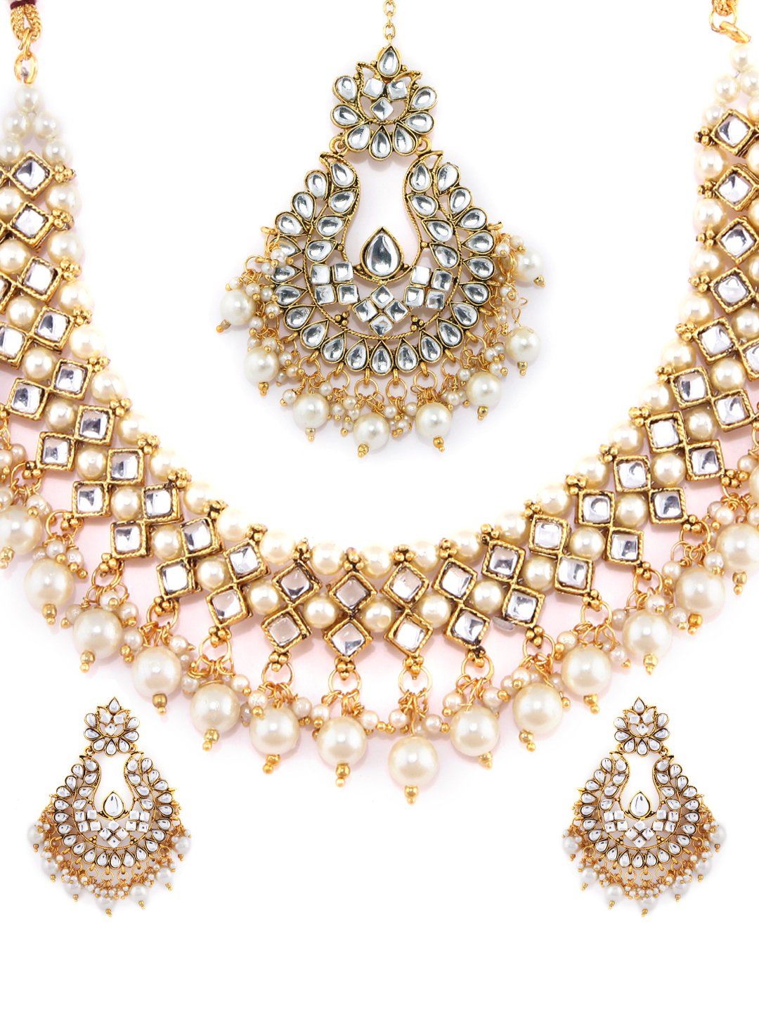 Rubans Gold Plated Traditional Indian Jewelry Set Bollywood Padmavati Ethnic Wedding Bridal Kundan and Pearls Designer Necklace Set with Maang Tikka for Women