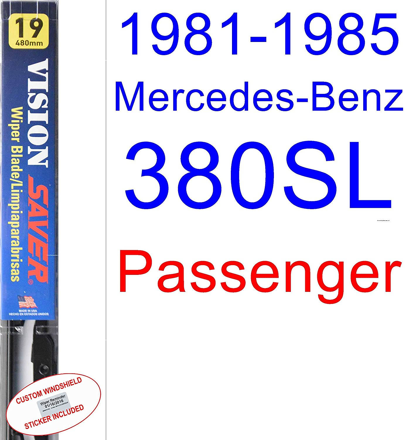 Amazon.com: 1981-1985 Mercedes-Benz 380SL Replacement Wiper Blade Set/Kit (Set of 2 Blades) (Saver Automotive Products-Vision Saver) (1982,1983,1984): ...