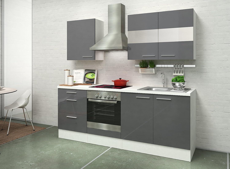 respekta Instalación de Cocina Cocina 210 cm Blanco Gris Brillante vitrocerámica: Amazon.es: Hogar