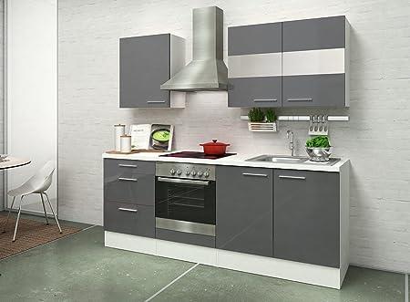 respekta Instalación de Cocina Cocina 210 cm Blanco Gris ...