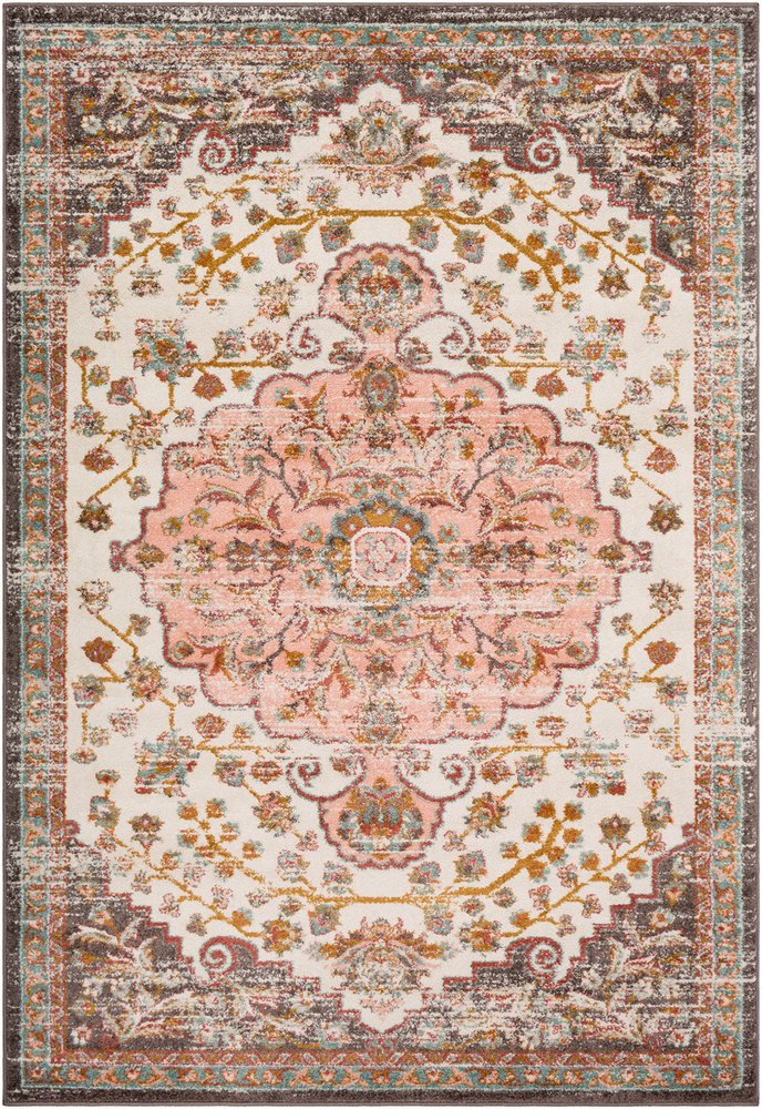 Zoey Light Pink and Camel Updated Traditional Area Rug 2 x 3