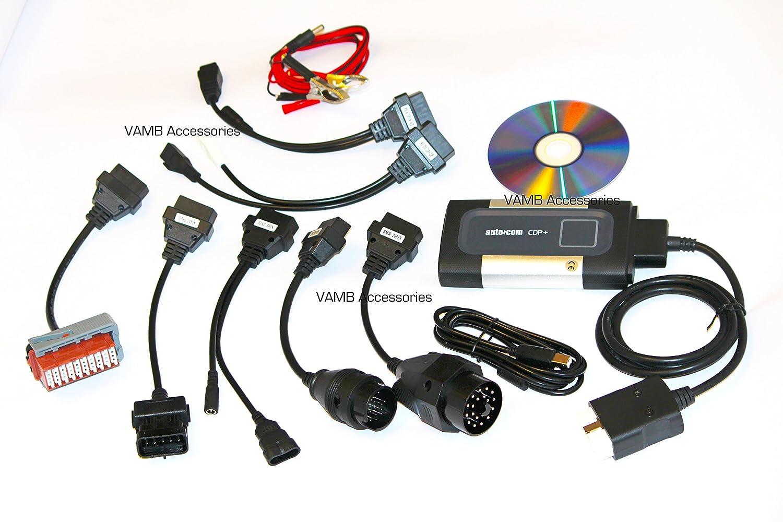 -Autocom CDP Plus - Escáner de datos automático para coche, camión, OBD2, herramienta de diagnóstico [idioma español no garantizado] + 8 adaptadores, ...