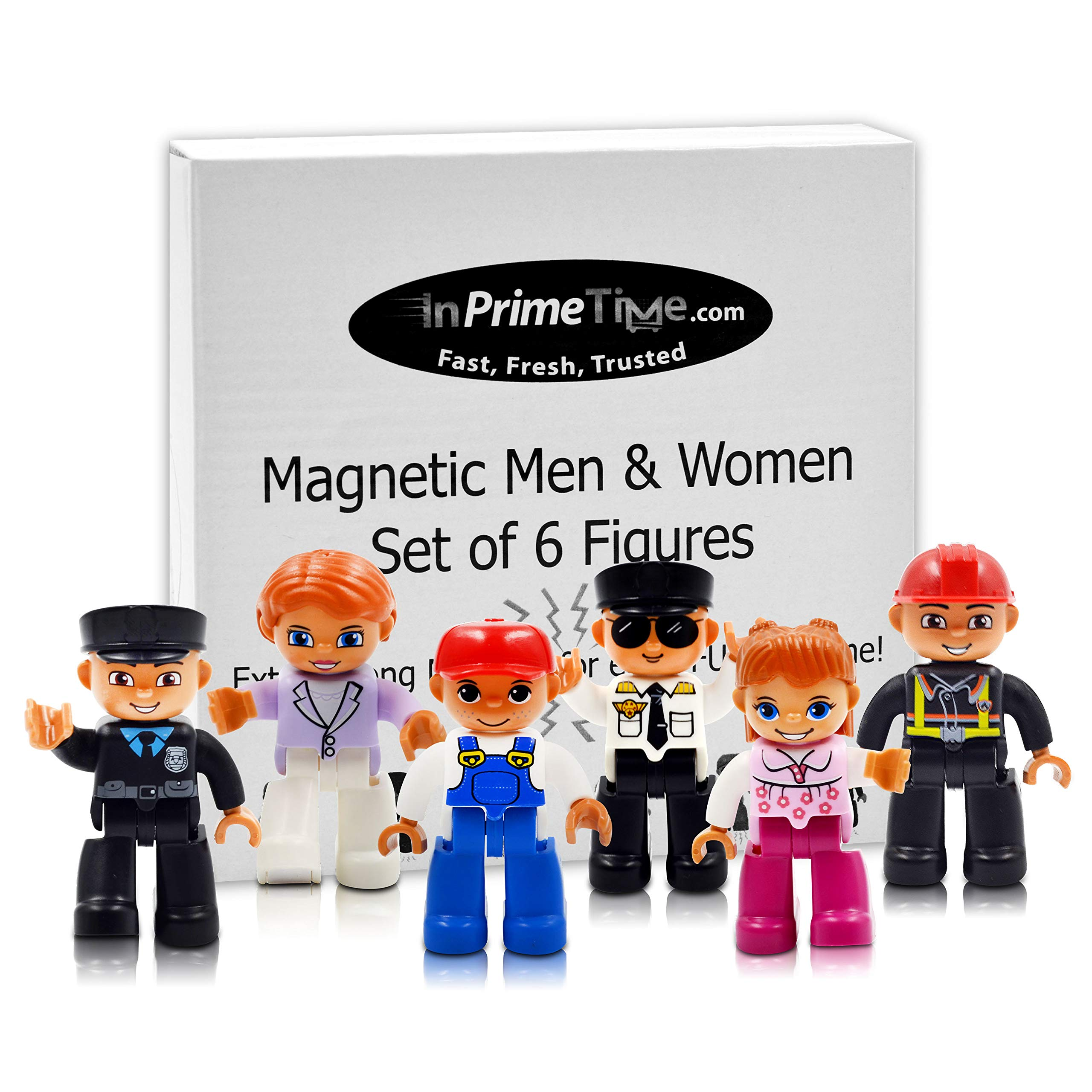InPrimeTime Magnetic Men, Women, People: Set of 6 Community Helper Figures. Compatible w/ MagnaTiles, MagnaBlocks, All Magnetic Building & Tile Sets by InPrimeTime