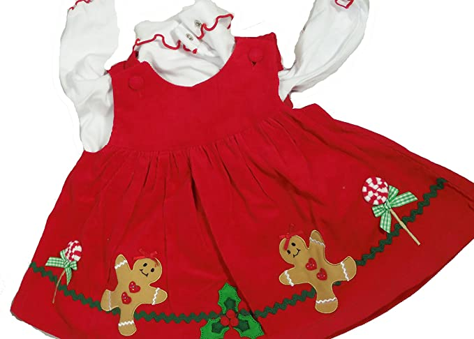 baby girl 3pc red dress white blouse tights 3 6 mo christmas gingerbread man lollipop