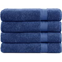 Cotton Cozy 100% Cotton Indulgence 600 GSM Luxury Large Oversized Bath Towels, Set of 4 (30 X 54 Inches), Amercian Construction, Soft, Highly Absorbent, Machine Washable, Navy Blue