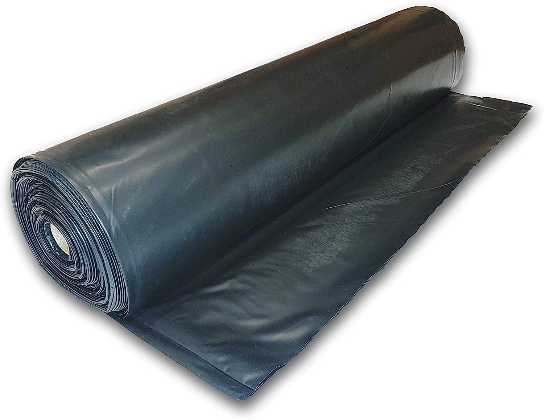 Plastic Poly Sheeting 5 Feet X 100 Feet, True 10 Mil, Black, Incredibly Durable, Top Visqueen Plastic Sheeting