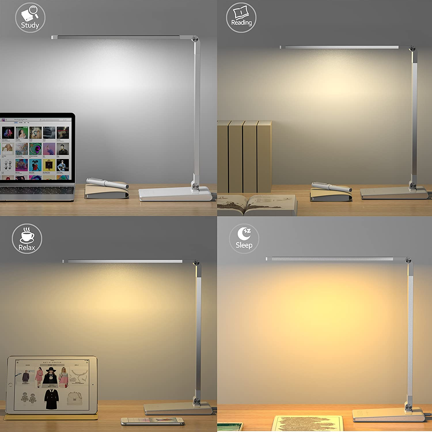 Aptoyu Led Dimmable Desk Lamp With 4 Lighting Modes