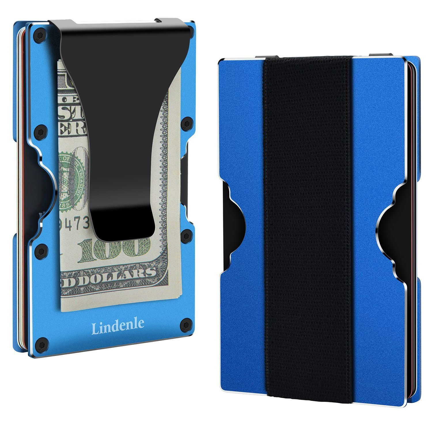 Lindenle Mens Minimalist Metal Wallet Aluminum Credit Card Holder Money Clip