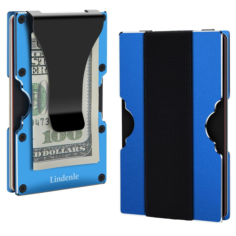 Lindenle Mens Minimalist Metal Wallet Aluminum Credit Card Holder Money Clip