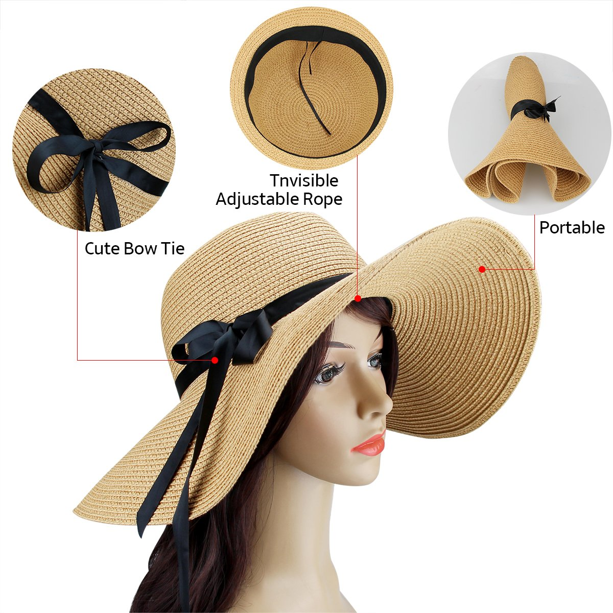 ba3e014661b Pack womens sun hat foldable large wide brim straw hat summer beach cap uv  protection beige