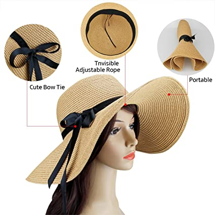 Amazon.com  2 Pack Women s Sun Hat Foldable Large Wide Brim Straw Hat Summer  Beach Cap UV Protection (Beige and Khaki)  Sports   Outdoors bc901f91141c