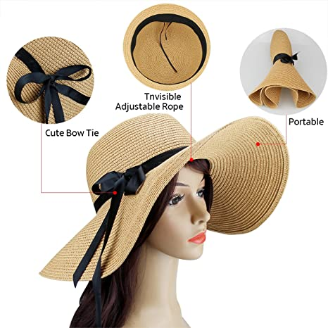 9462851e1ca Amazon.com  2 Pack Women s Sun Hat Foldable Large Wide Brim Straw Hat Summer  Beach Cap UV Protection (Beige and Khaki)  Sports   Outdoors