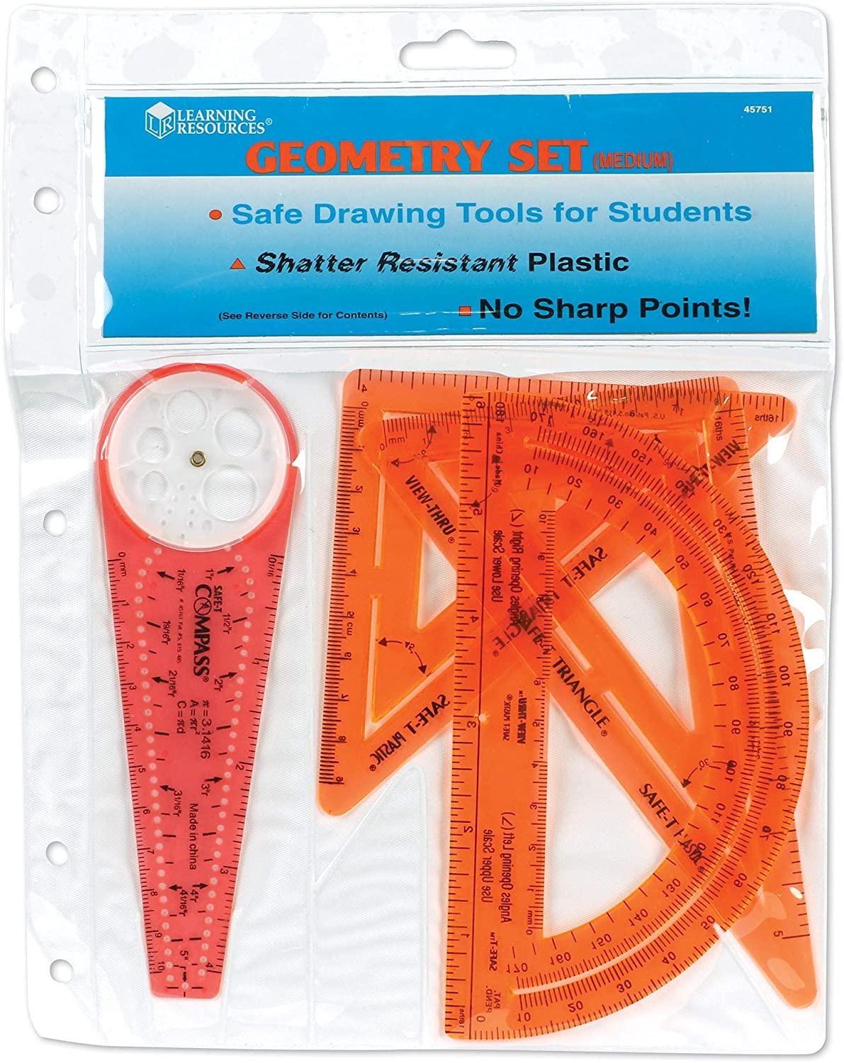 Medium 4 Piece 45751 Learning Resources SAFE-T Geometry Set