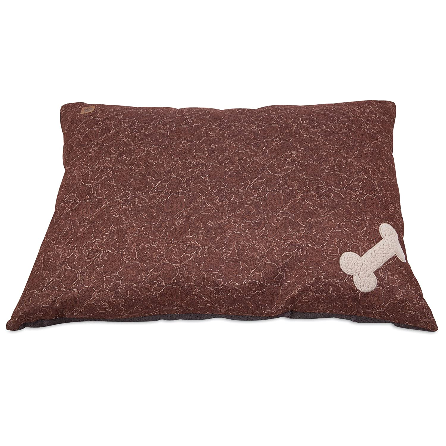 Brown MuttNation Fueled by Miranda Lambert Bone Applique Pillow Dog Bed, Brown Tooled Leather Print 27x36-Inch