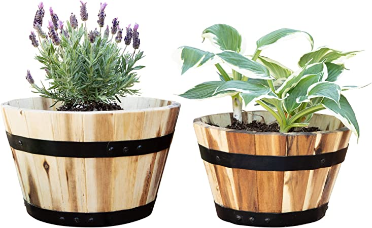 Amazon Com Villa Acacia Round Wood Pots Set Of Two 11 And 10 Inches For Flowers And Plants Garden Outdoor