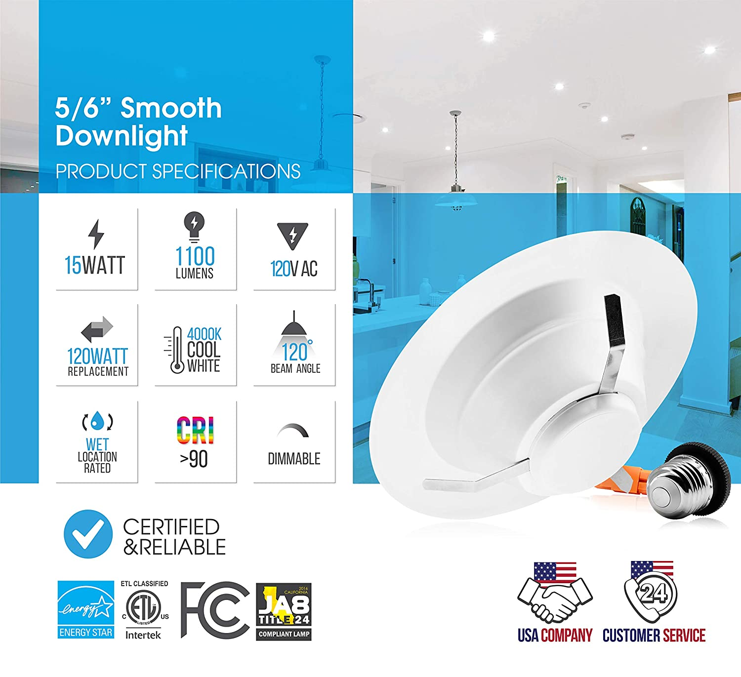 LED Trim Day Light 15W 1100lm LED Ceiling Down Light 12 Pack 5000K 1100Lm Parmida EASY INSTALLATION ENERGY STAR /& ETL 5//6 inch Dimmable LED Recessed Retrofit Downlight 120W Replacement