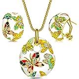 Kami Idea Primavera di Farfalla Parure Donna Collana Orecchini Cristallo Smalto Bianco