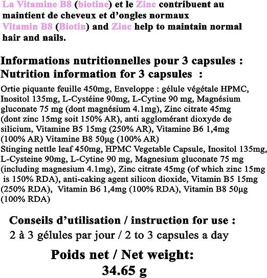Cabello fuerte uñas y piel con BIOTIN + ZINC, ortiga, vitamina B5 B6 B7 B8, magnesio, L-cisteína, L-Cytin Cápsulas vegetales