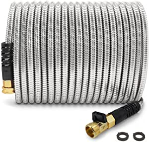 Cesun 50 Feet 304 Stainless Steel Metal Garden Hose with Brass Shut Off Valve, Lightweight Portable Durable Cool to The Touch, Flexible and No Kink, Tangle Puncture Resistant (50FT with Valve)