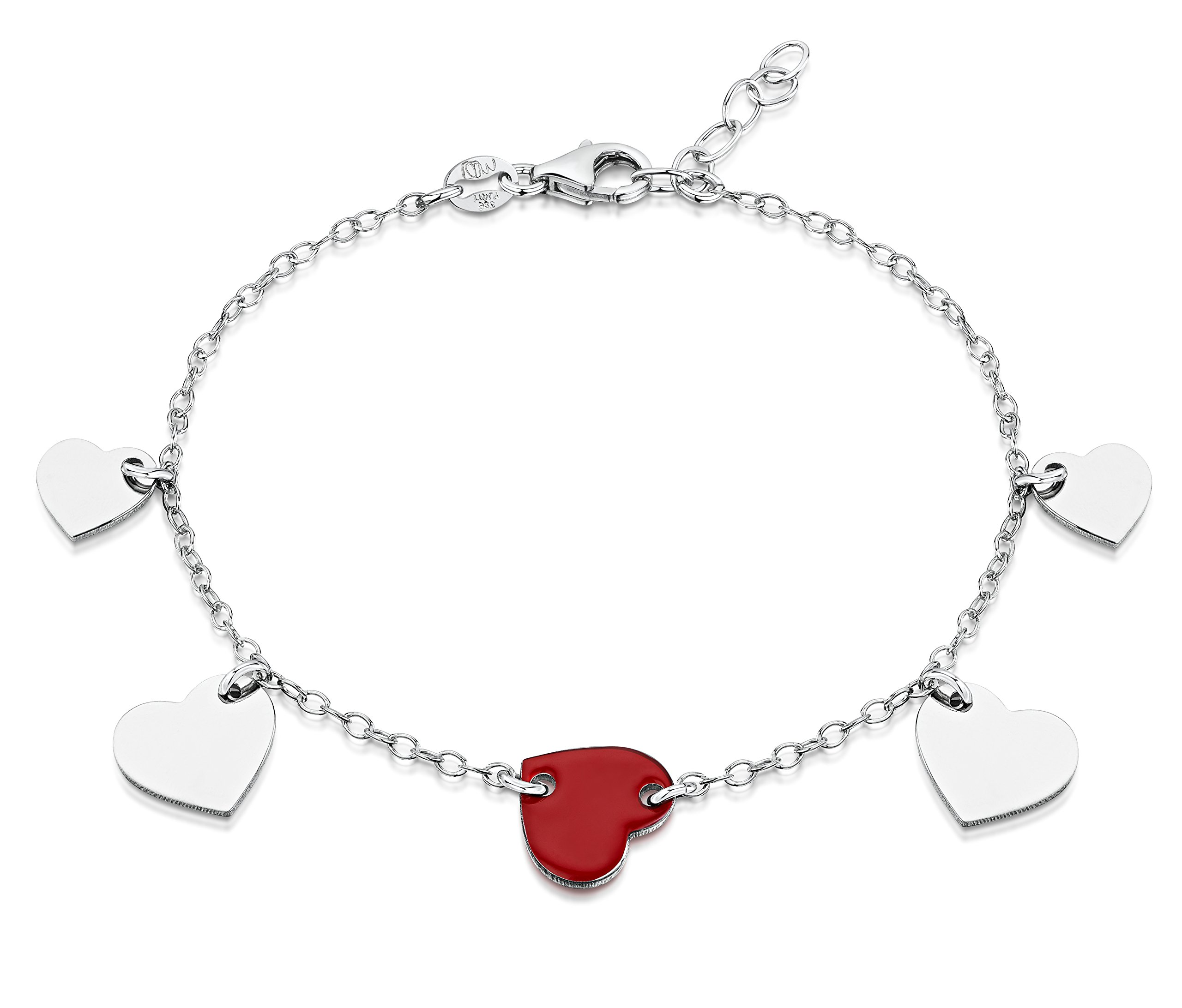 Amberta 925 Sterling Silver Adjustable Ankle Bracelet - 1.7 mm Trace Chain Anklet with Hearts - 9'' to 10'' inch - Flexible Fit