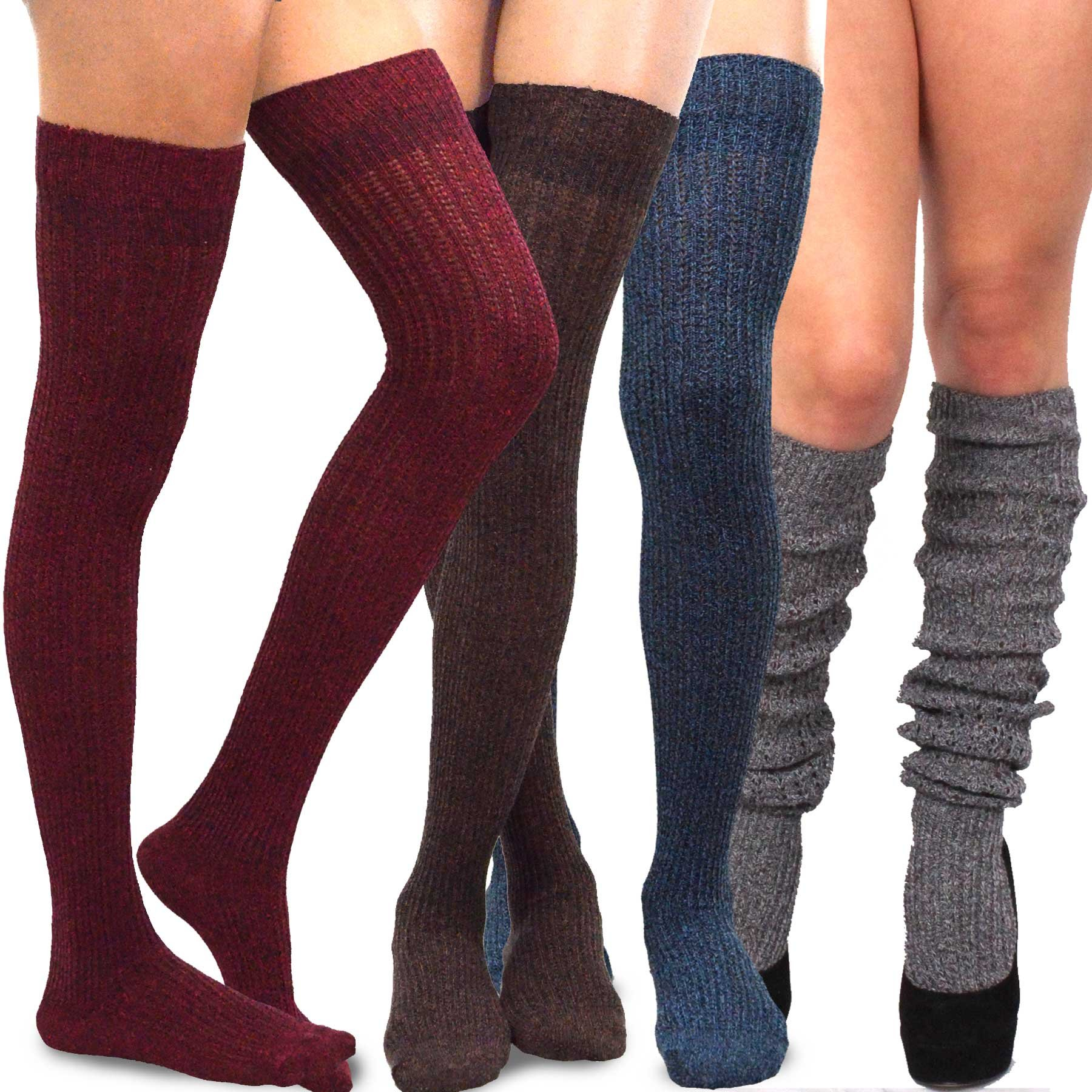 Teehee Women's Fashion Extra Long Cotton Thigh High Socks - 4 Pair Pack (Marled)