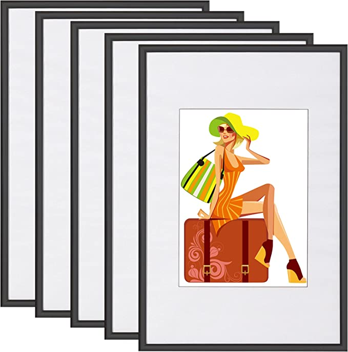 Woltu #315-5 Set of 5 Picture Frames with Mount Plastic Frame and Glass Front: Amazon.de: Küche & Haushalt