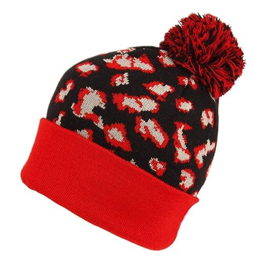 28a7c9ea84ef44 BN1923 Aesthetic Classic Leopard Print Knit Pom Pom Beanie Hat (BLACK)
