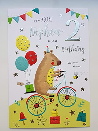 Special Nephew 2nd Birthday Card Age Two 7606 Amazon Office