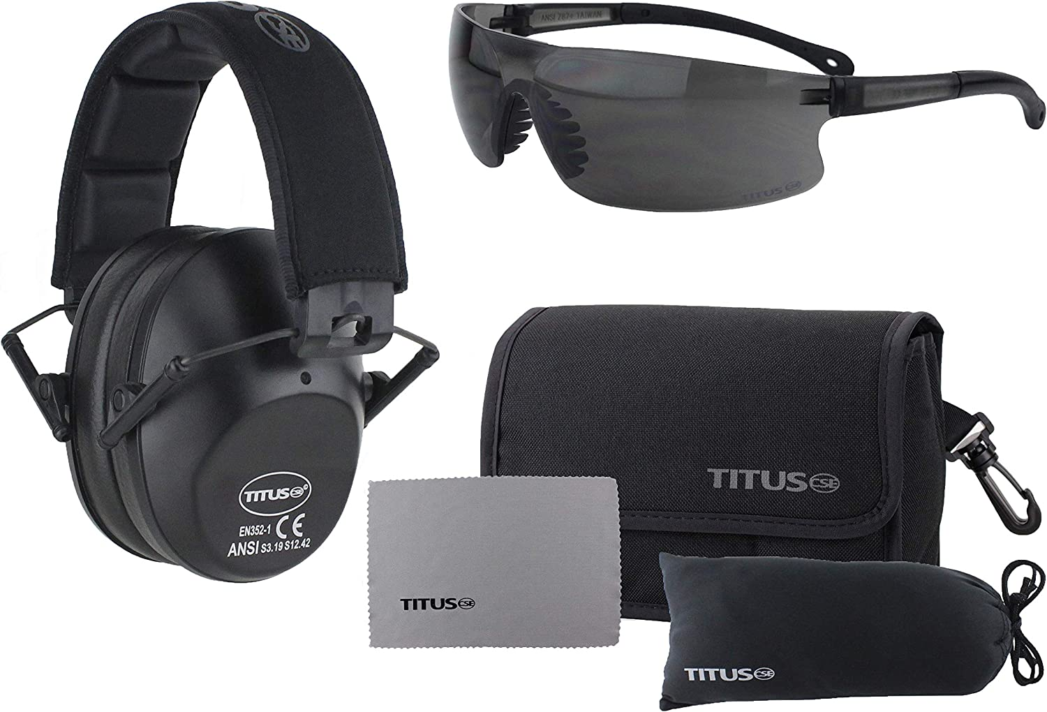Titus 2 Series 34 NRR Slim-Line Hearing Protection /& Sport Style Safety Glasses Combos Black, Mirrored