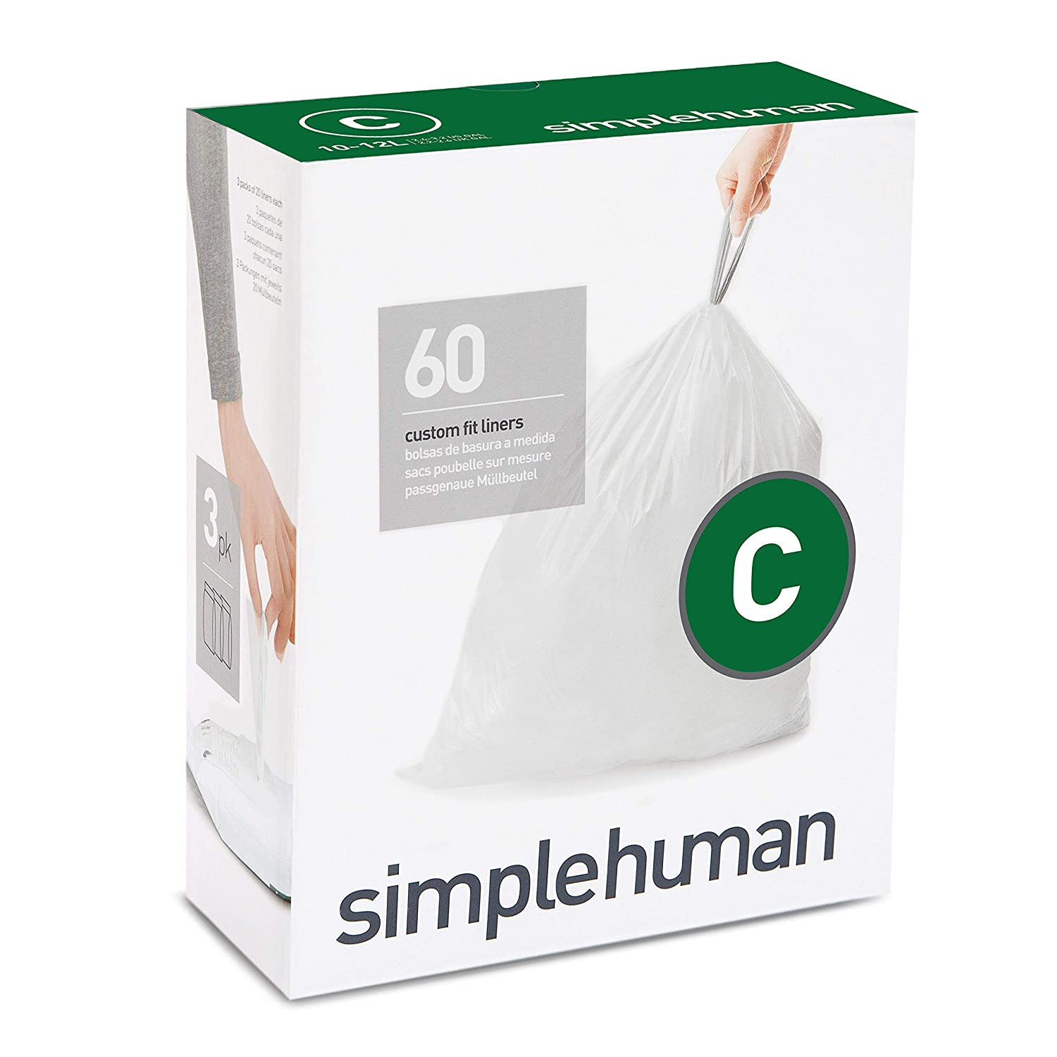 simplehuman Code C Custom Fit Drawstring Trash Bags, 10-12 Liter / 2.6-3.2 Gallon, 3 Refill Packs (60 Count)