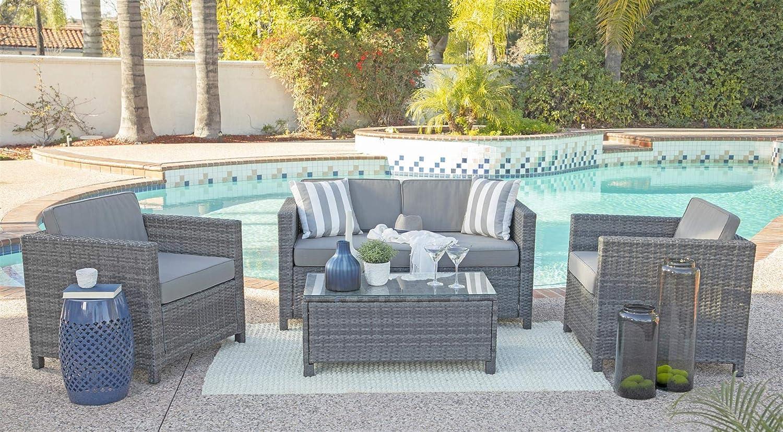 Coaster Home Furnishings 6YRGKD824905 Timberon 4-Piece Rattan Outdoor Sofa Set, Dark Grey
