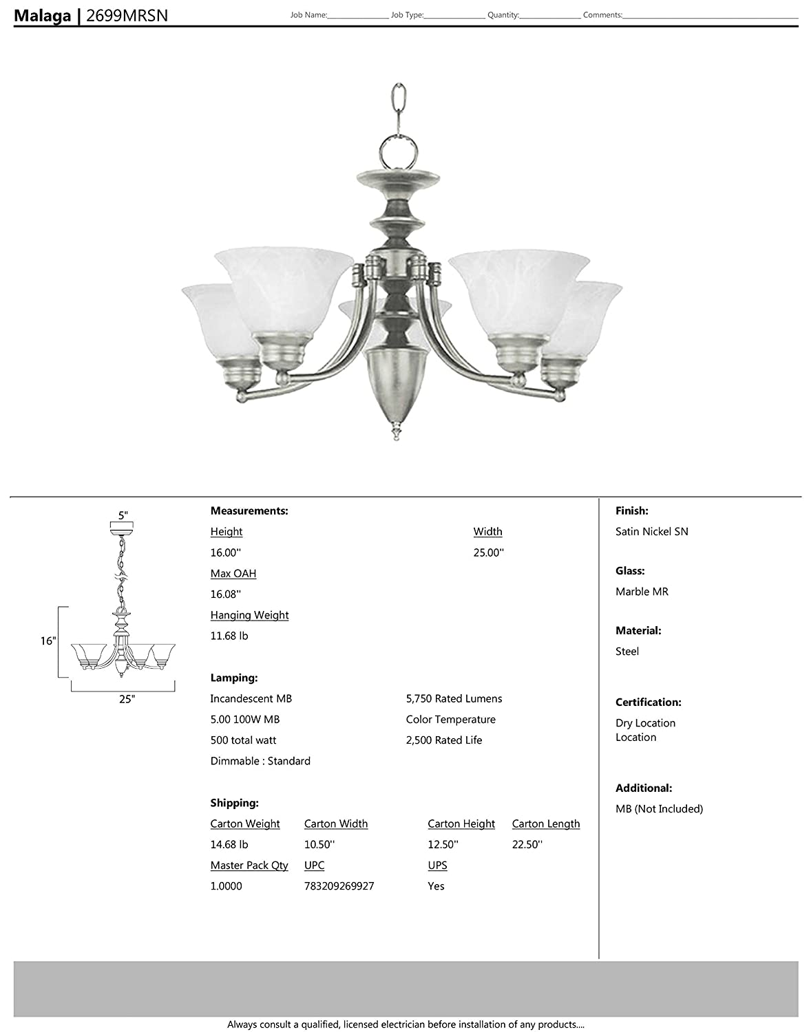Standard Dimmable Opal Glass Shade Material 2300 Rated Lumens Maxim Lighting 60W Max. MB Incandescent Incandescent Bulb Marble Glass Kentucky Bronze Finish Damp Safety Rating Maxim 2655MRKB Pacific 5-Light Chandelier