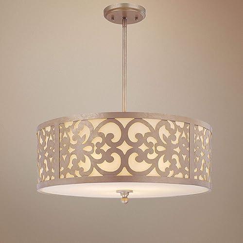 Minka Lavery Pendant Ceiling Lighting 1494-252, Nanti Drum, 3 Light Fixture, 300 Watts, Silver