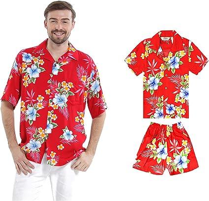 Juego Hawaiano Traje de Luau Camisa de Hombre Camisa de niño en Hibisco Rojo: Amazon.es: Ropa y accesorios