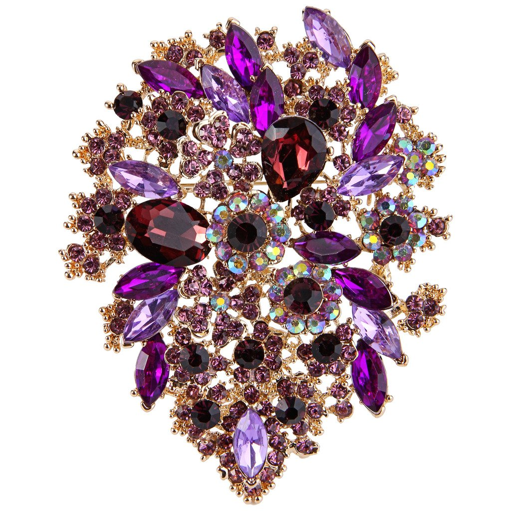 EVER FAITH Women's Austrian Crystal Vintage Style Flower Leaf Cluster Brooch Pendant Purple Gold-Tone