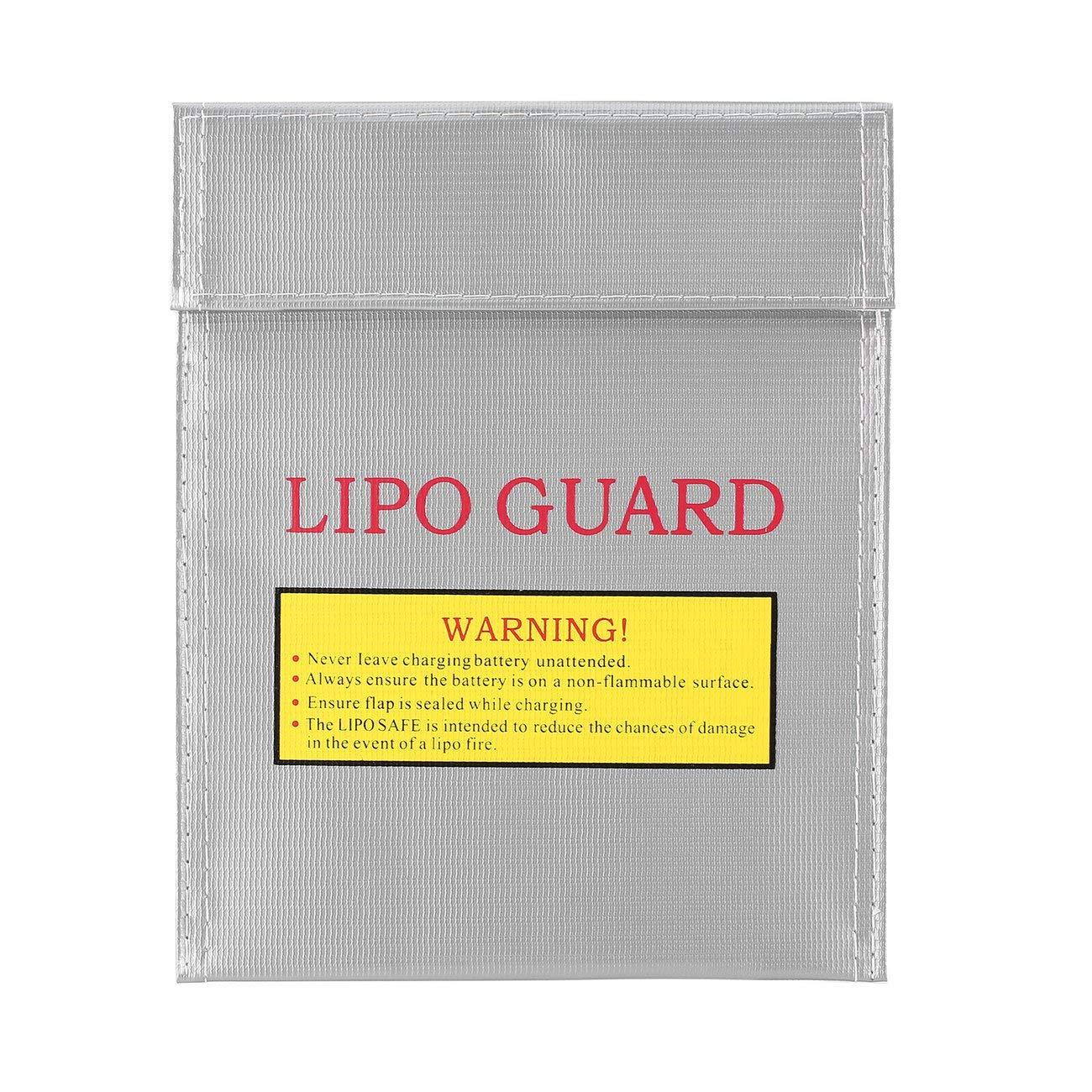 Elviray RC LiPo Li-Po Battery Fireproof Safety Guard Safe Bag Charging Sack Battery Safety Protective Bag Safe Guard Silver