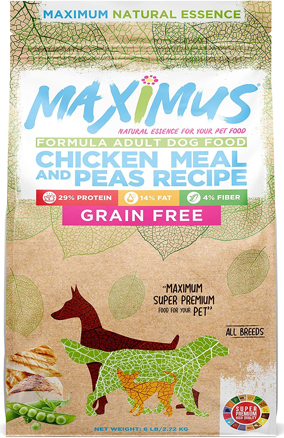 Maximus Super Premium Dog Food - Natural Essence - Dry Grain Free High Protein, Healthy Chicken and Pea Recipe for Your Adult Pet of All Breeds, Balanced for Sensitive Stomach