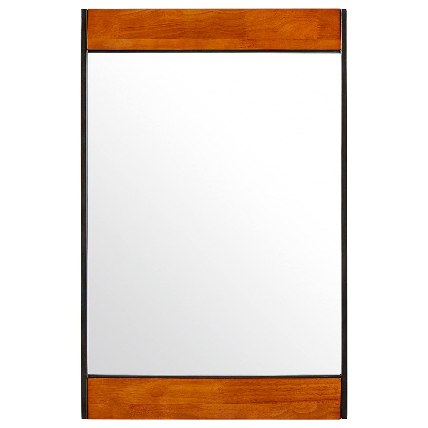 Rivet Wood and Iron Rectangular Mirror, 44.25