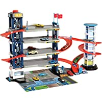 Dickie Toys 203749008 - Parkeringsgarage - 4 Våningar, Manuell Hiss, ljus & ljud, 4 x Metallbilar + 1 Helikopter, 87x42…